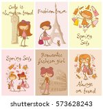 set of 6 vector cards with cute ...