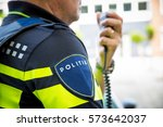 dutch police officer  with... | Shutterstock . vector #573642037