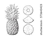 whole pineapple and three types ... | Shutterstock .eps vector #573643423
