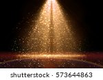 stage light and golden glitter... | Shutterstock . vector #573644863