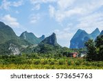 the countryside and mountains... | Shutterstock . vector #573654763