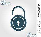 unlock icon. flat design style. ...