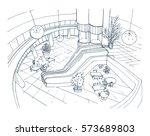 modern interior shopping center ...   Shutterstock .eps vector #573689803