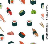 japanese seafood sushi rolls... | Shutterstock .eps vector #573691993