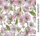 realistic sakura hand drawn... | Shutterstock .eps vector #573695197