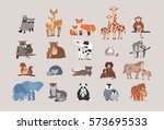Stock vector cute animals with babies set raccoon deer fox giraffe monkey koala bear cow rabbit sloth 573695533