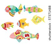 set of colorful decorative fish   Shutterstock .eps vector #57371488