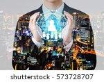 double exposure of leadership... | Shutterstock . vector #573728707
