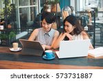 asian woman working with laptop ... | Shutterstock . vector #573731887