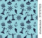 seamless sea pattern with... | Shutterstock .eps vector #573737023