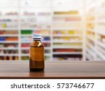 pill bottle on table top on...   Shutterstock . vector #573746677