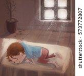 child sleeping nap   Shutterstock . vector #573772807