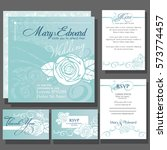 set of wedding cards or... | Shutterstock .eps vector #573774457