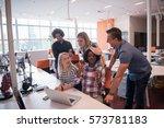 multiethnic startup business... | Shutterstock . vector #573781183