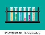 test glass tubes in rack.... | Shutterstock .eps vector #573786373