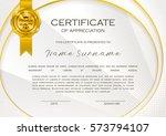 qualification certificate of... | Shutterstock .eps vector #573794107