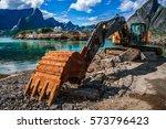 lofoten islands   excavator ... | Shutterstock . vector #573796423