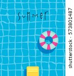 summer pool poster with pool... | Shutterstock .eps vector #573801487
