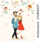valentines day illustration... | Shutterstock .eps vector #573806557