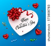 valentines day greeting card.... | Shutterstock .eps vector #573808783