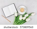 woman working desk with coffee... | Shutterstock . vector #573809563