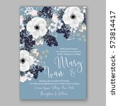 anemone wedding invitation card ... | Shutterstock .eps vector #573814417