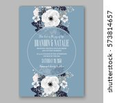 anemone wedding invitation card ... | Shutterstock .eps vector #573814657