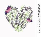 bouquet heart shape of lavender ... | Shutterstock . vector #573818863