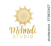 vector illustration of mehndi... | Shutterstock .eps vector #573822427