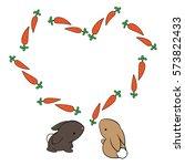 ute cartoon rabbit and heart... | Shutterstock .eps vector #573822433