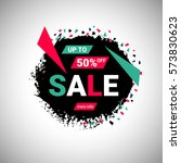 50  sale banner over black... | Shutterstock .eps vector #573830623