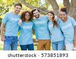 portrait of volunteer group...   Shutterstock . vector #573851893