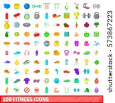 100 icons set in cartoon style... | Shutterstock .eps vector #573867223