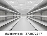 supermarket aisle with empty... | Shutterstock . vector #573872947