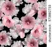 gorgeous floral blossom pattern ... | Shutterstock . vector #573882733