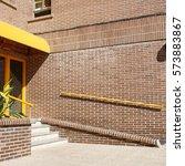 brick building entrance view | Shutterstock . vector #573883867