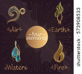 four magic elements in the... | Shutterstock .eps vector #573908533
