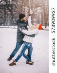 happy young couple dancing on... | Shutterstock . vector #573909937