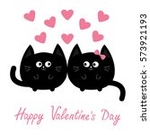 Stock vector valentines day round shape black cat icon love family couple pink heart cute cartoon character 573921193