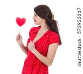 beautiful woman in red dress... | Shutterstock . vector #573923317