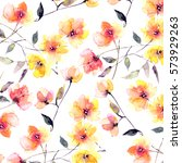 Stock photo floral background yellow flowers pattern 573929263