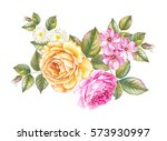 bouquet of roses flowers.... | Shutterstock . vector #573930997