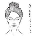 beautiful girl face with top... | Shutterstock .eps vector #573931663