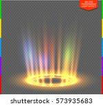 round yellow glow rays night... | Shutterstock .eps vector #573935683