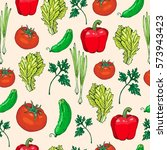 seamless pattern of salad... | Shutterstock .eps vector #573943423