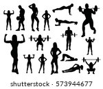 sport woman and man silhouettes ... | Shutterstock .eps vector #573944677