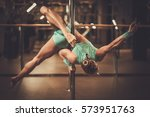 beautiful woman performing pole ... | Shutterstock . vector #573951763