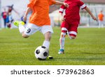football soccer match for... | Shutterstock . vector #573962863