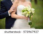wedding couple  bride and groom ... | Shutterstock . vector #573967927