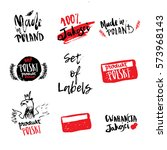set of hand drawn poland labels ... | Shutterstock .eps vector #573968143